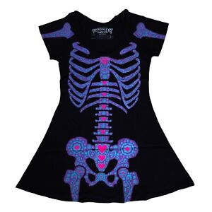 Kreepsville 666 Gothic Punk Day of the Dead Purple Skeleton Black Mini Dress M