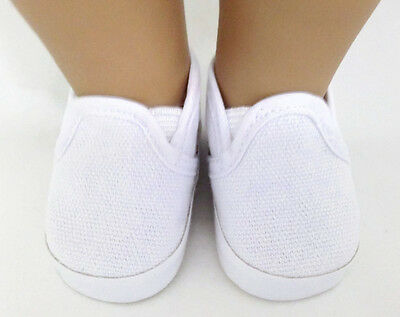 """Grey Canvas Slip On Shoes made for 18/"""" American Girl Doll Clothes"""