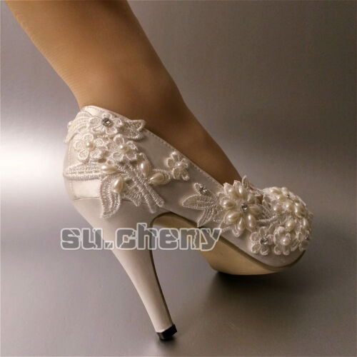 in tacco Perle bianco Su con e 3 4 nuziali da sposa Scarpe raso cheny tallone aperte avorio CTWTRg