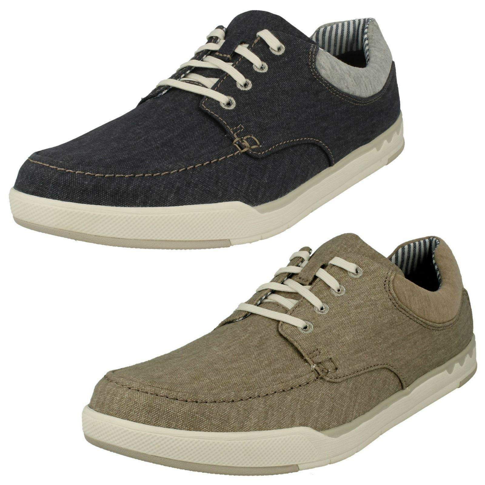 Mens Clarks Cloudsteppers Step Isle Lace Canvas Lace Up Shoes