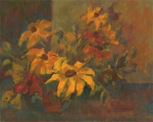 Barbara Doyle (b.1917) - Contemporary Oil, Yellow Bouquet