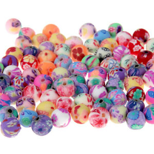 50Pcs-Lot-8mm-Fimo-Polymer-Clay-Printing-Flower-Pattern-Round-Loose-Beads-DIY