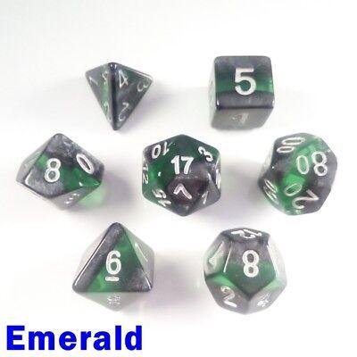 Bescon Gem Vines Mineral Rocks Poly 7 Dice RPG Set Emerald BCD17TA5 02 Green D/&D