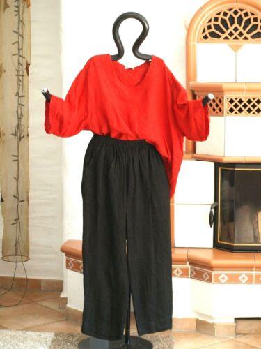 9513 LABASS Lagenlook TINA BASIC Leinen Hose gerade Taschen schwarz XL 48 50