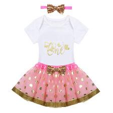 97737f66b Baby Girls 1st First Birthday Dress Romper Tutu Skirt Headband Cake Outfits  Sets