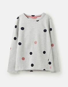 Joules Girls Mart Loopback Graphic Sweatshirt  - GREY GLITTER SPOT