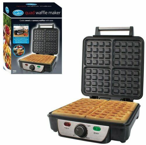 Quad belge Maker Compact Non Stick Auto Contrôle de température cuisiniers 4 Gaufres