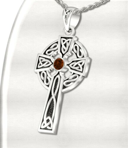 1.5in Mens Sterling Silver Celtic Knot Cross January Birthstone Pendant Necklace
