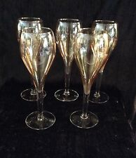 5 Tulip Shaped Crystal Amber Champagne Flutes