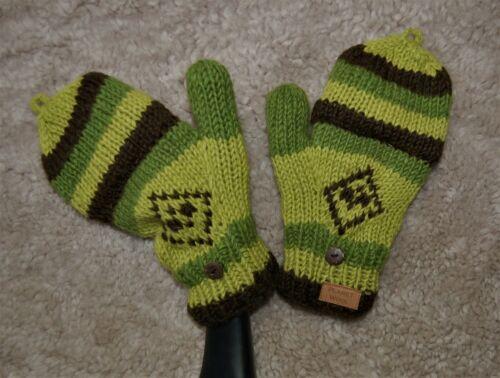 Handschuhe mit Klappe Grün Wollhandschuhe Gefüttert Grün Fäustlinge Fingerlinge
