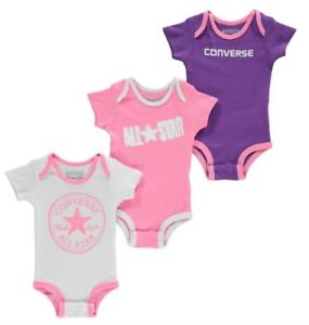 b9185237d97d0 Converse All Star Bébé 3 Pièces Lot Bodysuits Fille Rose Lila Rose 0 ...
