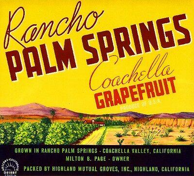 Highland Coachella Rancho Palm Springs Grapefruit Citrus Fruit Crate Label Print