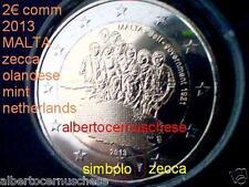 2 euro 2013 MALTA zecca NL Paesi Bassi Olanda Pay Bas Malte 1921 governo autonom