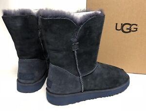 5b07b0c3c0a Details about UGG Australia Imperial Blue CLASSIC SHORT Cuff SHEEPSKIN  Suede BOOTS 1016418 sz