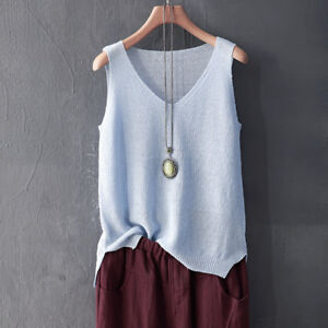 0bff067b0029 Lady Linen Cotton Knitted Loose Tank Tops Vest Camisole V Neck ...