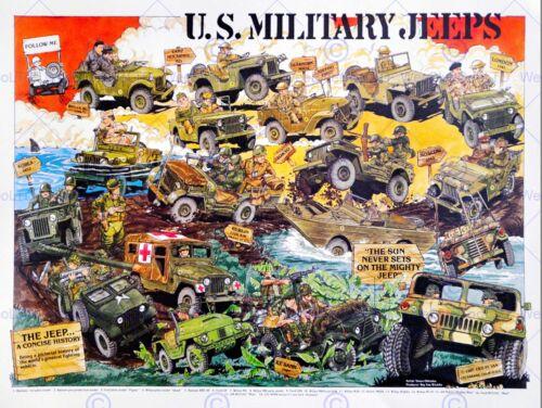 U S MILITARY JEEPS TRANSPORT CAR VEHICLE NEW FINE ART PRINT POSTER CC4564