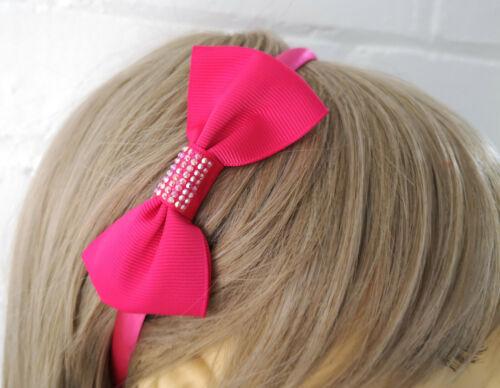Beautiful hot pink aliceband cerise AB diamante bow motif headband NEW