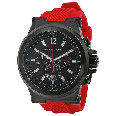 Michael Kors Dylan Chronograph Black Dial Red Silicone Mens Watch MK8382