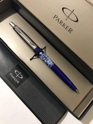2006 PARKER JOTTER BLUE CHROME TRIM BALLPOINT PEN-WIGAN ATHLETIC UK-GIFT BOX.