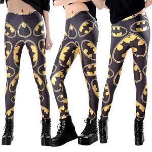 Womens-Super-Hero-Comic-Batman-Full-Length-Stretchy-Ankle-Leggings-Pants