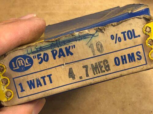 2 NOS IRC 4.7 meg ohm 1 watt 1W Carbon Comp Resistors TESTED 5.3 meg 1950s Qty