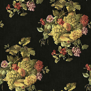 Colorful-Fruit-and-Floral-in-Urn-Wallpaper-on-Black-Background-RK439