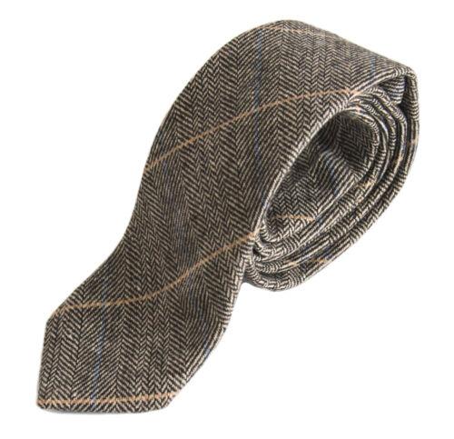 Herren Marc Darcy Tweed Kariert Stil DX7 Krawatte Hellbraun
