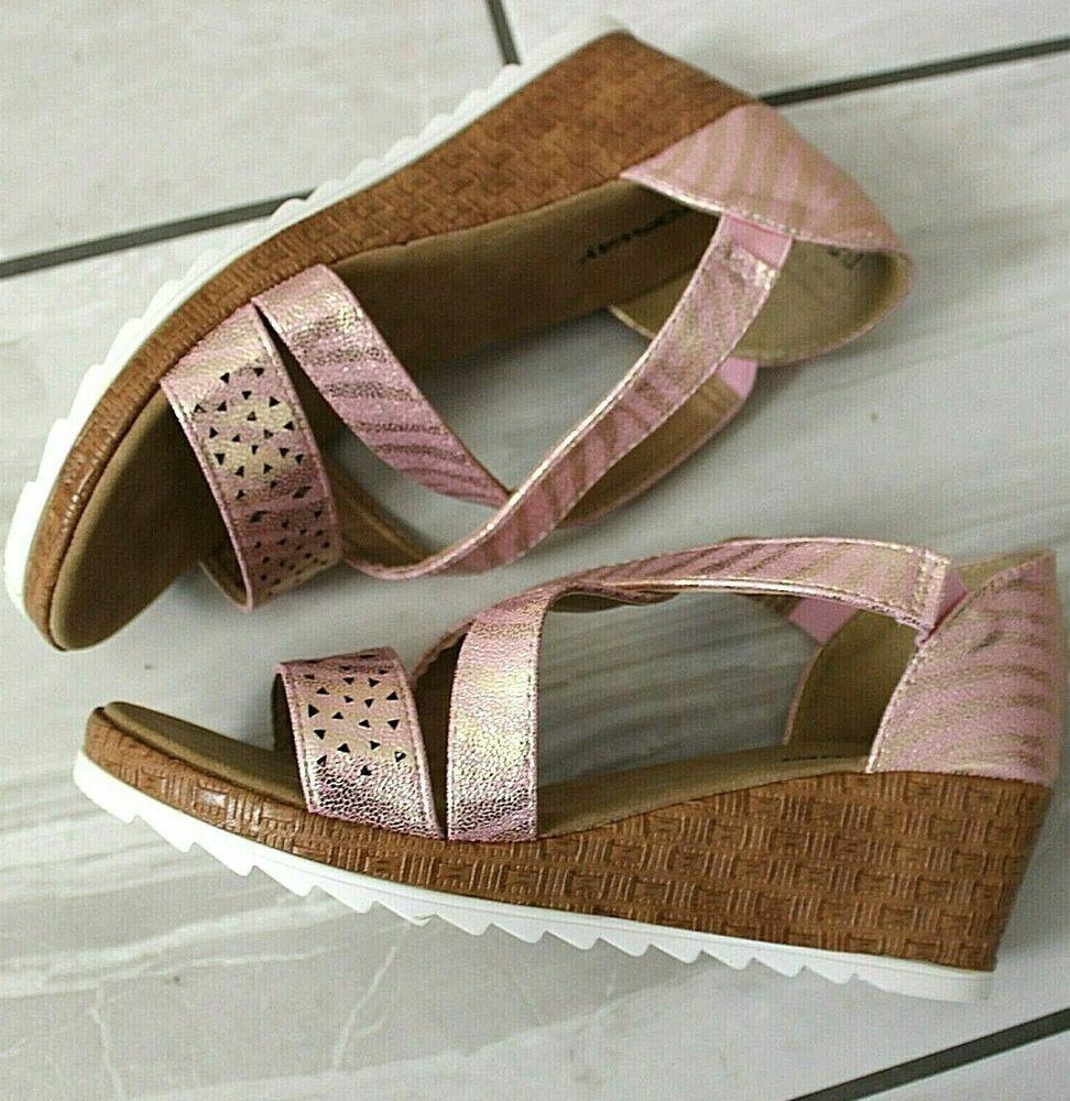 Femme Large Fit Rose Compensés Bas Sandales à Lanières Plates-formes Chaussures Tailles Uk 4 5 6