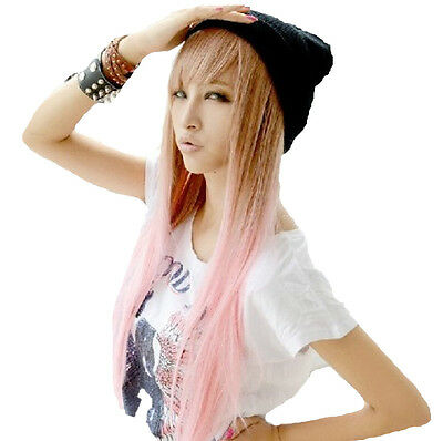 Girl Lolita Harajuku Style Mixed Color Straight Long Hair Anime Cosplay Wig