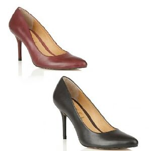 8ee604dec711 Ravel Newton Pointed Toe Court Shoes Black or Red Leather