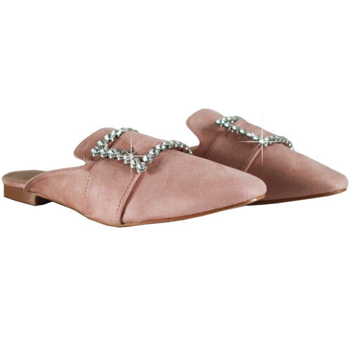 Womens Flats Slip On Backless Loafers Ladies Shoes Comfy Mule Faux Suede Size3-8