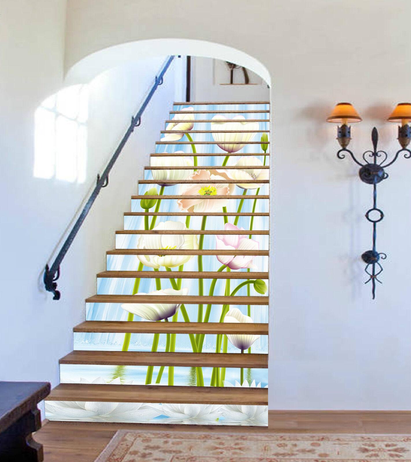 3D Weiß Blaume 996 Stair Risers Dekoration Fototapete Vinyl Aufkleber Tapete DE