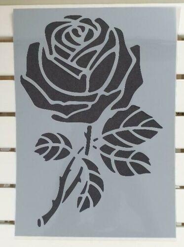 Grosse Rose sur branche Pochoir Mylar Feuille A4 Solide Réutilisable Artisanat Art Mur Deco