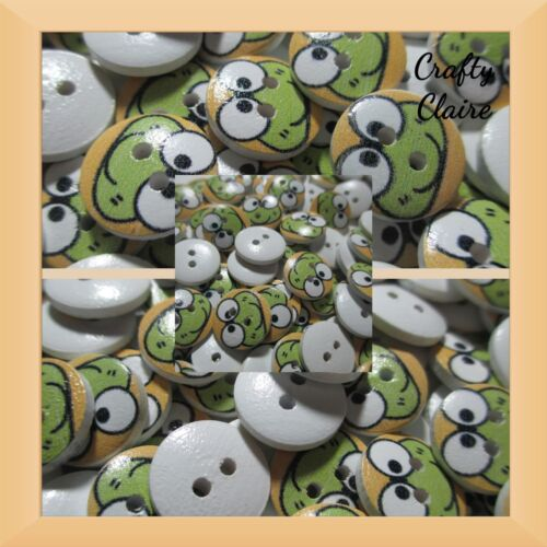 10 OFFERS AVAILABLE Frog Themed Wooden Two Hole Sewing Buttons 17mm