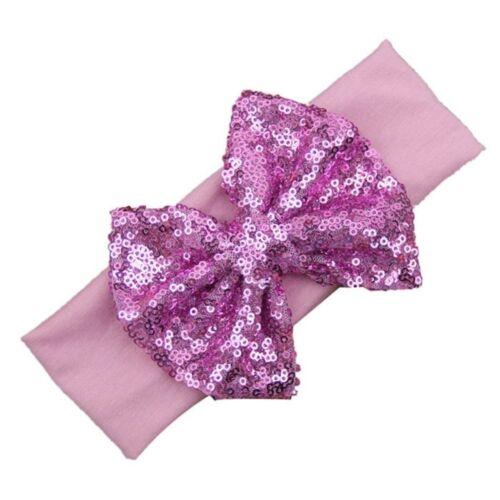 "Girls Baby Children Sparkle Shiny 4/"" Bow Sequin Elastic Fashion Hair Headband UK"