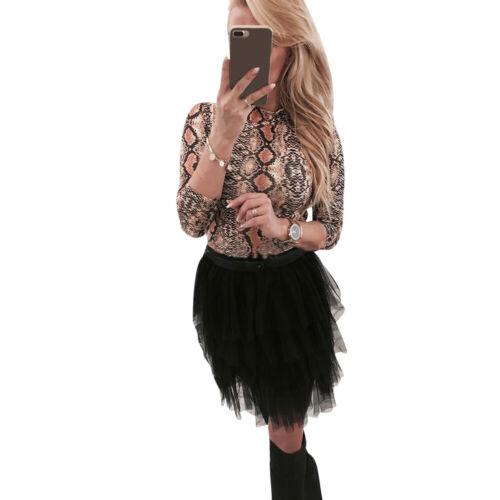 Women Leopard Print T-Shirt Ladies Long Sleeve Turtleneck Slim Fit Blouse Tops
