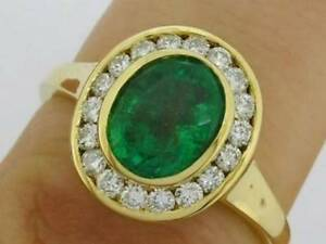 R238-Genuine-750-18ct-18K-Gold-NATURAL-Emerald-Diamond-Halo-Engagement-Ring