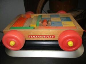 Vintage Tootsie Toy Wood Red Wagon with Wood Blocks
