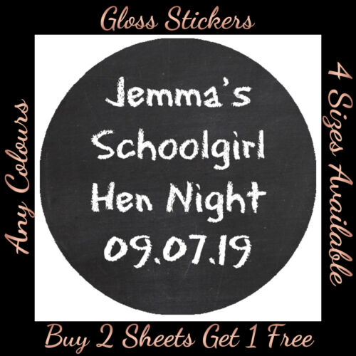 Hen Party Birthday Personalised SCHOOL Girl Boy Stickers Chalk Board effect