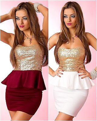 Bandeau Mini-Kleid Cocktail-Kleid Peplum Weiß Rot Gold Pailletten 34 36 38