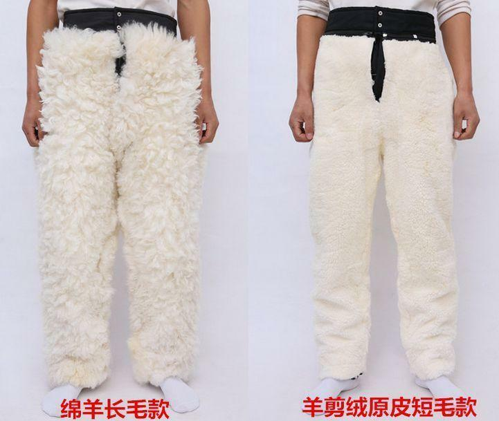 Unisex Mens winter Detachable Inner Real Fur Warm Pants Trousers Casual Plus Sz