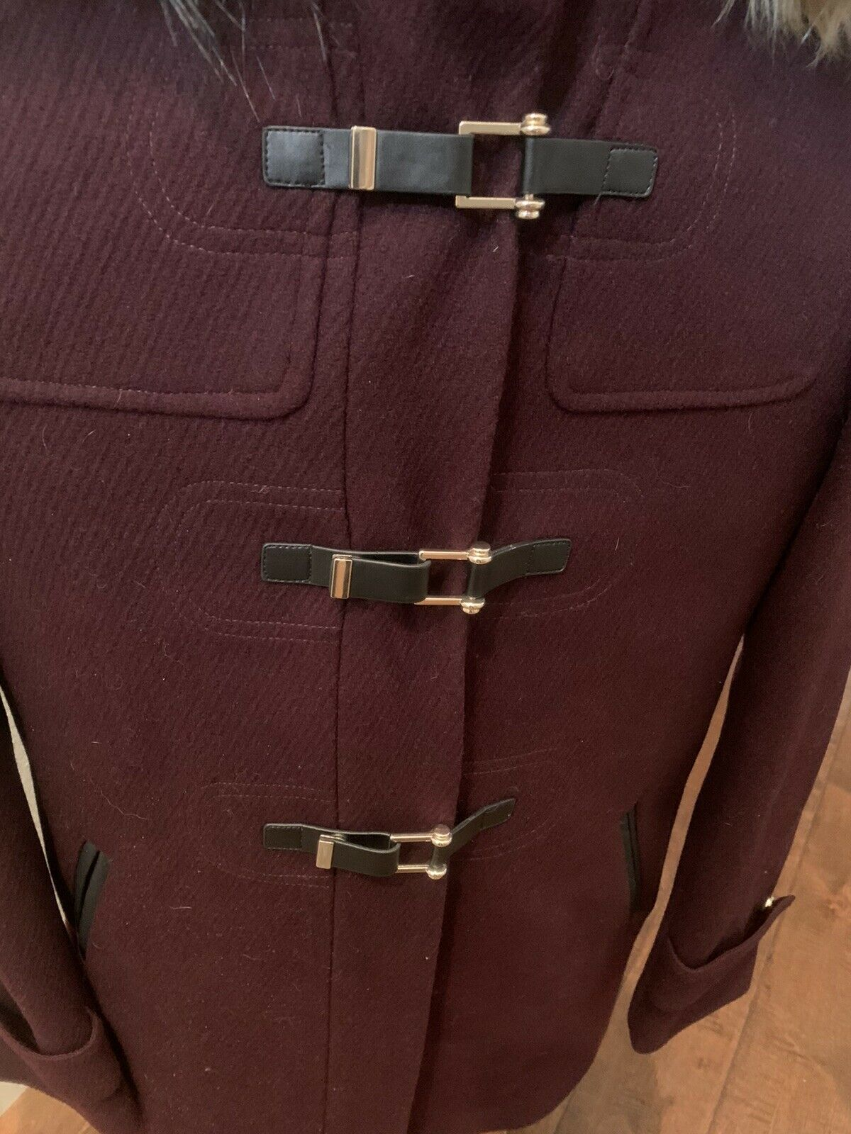 Cole Haan Women's Wool Twill Short Duffel Coat Bo… - image 5