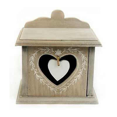 BEDROOM SINGLE DRAWER CHEST CABINET STORAGE WOODEN UNIT BOX JEWELLERY HEART CHIC