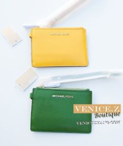 BNWT-MICHAEL-KORS-Leather-Small-Coin-Purse-Keychain-Wristlet-Yellow-Green