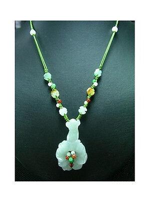 Delicate Large Adjustable Beaded Jadeite Jade Money Lucky Ruyi Flower Necklace