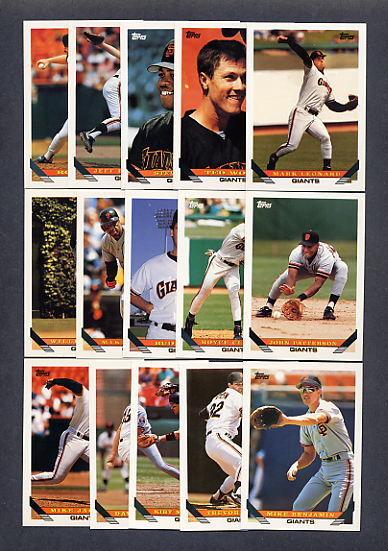 1993 Topps Baseball San Francisco Giants TEAM SET w/Traded