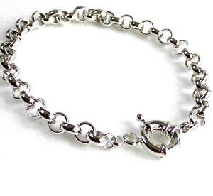 Belle Hommes Plaqué Or Blanc 23cm 22.9cm 7mm Lien Cercle Spring Fermoir Bracelet De Ru Pourtant Pas Vulgaire