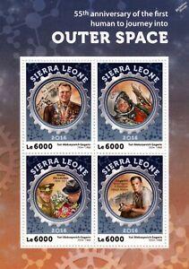 Nouvelle Mode Cosomonaut Gagarine Premier Homme Dans L'espace Timbre Feuille (2016 Sierra Leone)-afficher Le Titre D'origine Complet Dans Les SpéCifications