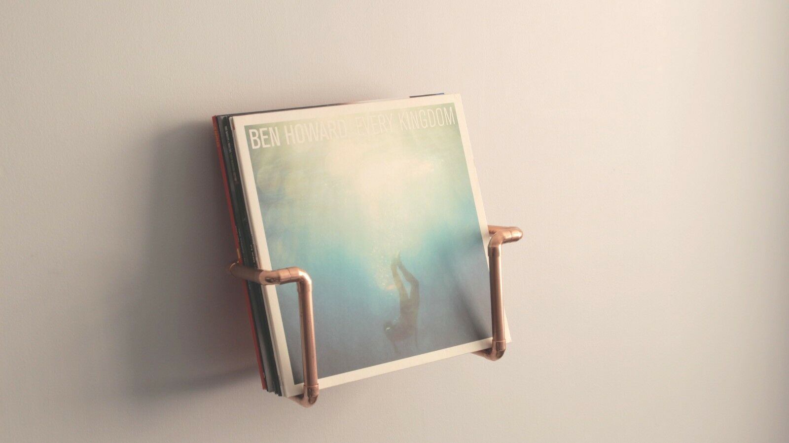 Wall mounted vinyl record holder - - - Handmade with industrial copper pipe and iron 966c62