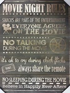 Movie Night Rules Rustic Wooden Wall Decor Entertainment